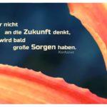 Lilien-Blätter mit Konfuzius Zitate Bilder: Wer nicht an die Zukunft denkt, wird bald große Sorgen haben. Konfuzius
