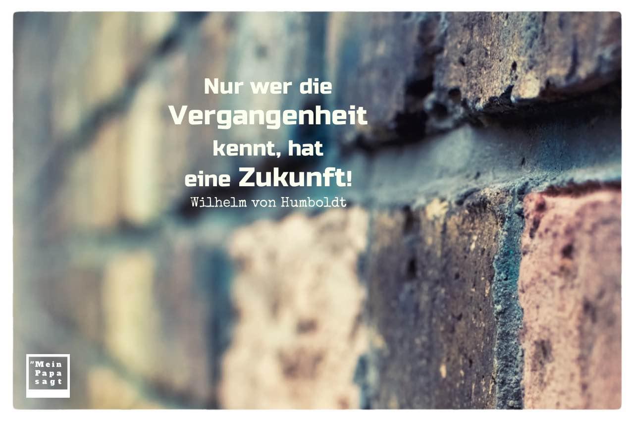 Alte Steinmauer mit Humboldt Zitate Bilder: Nur wer die Vergangenheit kennt, hat eine Zukunft! Wilhelm von Humboldt