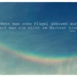 Wolken und Regenbogen mit Chanel Zitate Bilder: Wenn man ohne Flügel geboren wurde, darf man sie nicht am Wachsen hindern. Coco Chanel