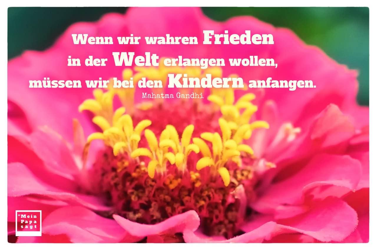 Blütenkelch mit Gandhi Zitate Bilder: Wenn wir wahren Frieden in der Welt erlangen wollen, müssen wir bei den Kindern anfangen. Mahatma Gandhi