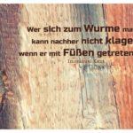 Holztür und Haken mit Kant Zitate Bilder: Wer sich zum Wurme macht, kann nachher nicht klagen, wenn er mit Füßen getreten wird. Immanuel Kant
