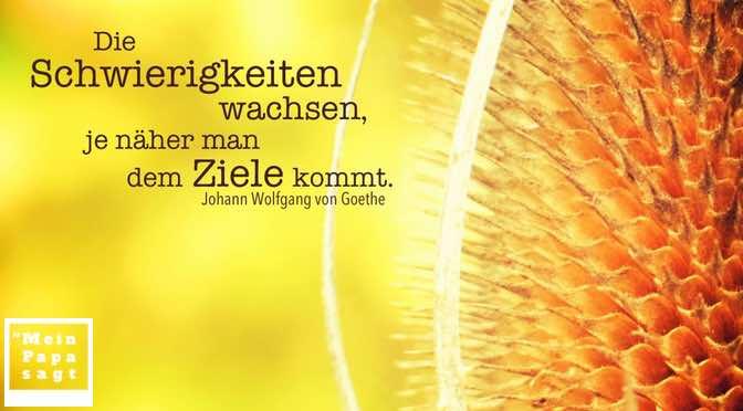 Die Schwierigkeiten wachsen, je näher man dem Ziele kommt – Goethe