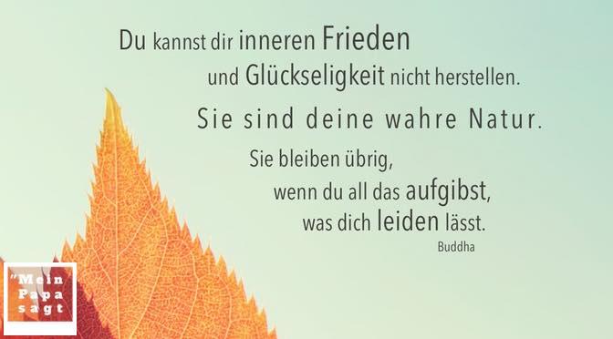 Du kannst dir inneren Frieden und Glückseligkeit nicht herstellen. Sie sind deine wahre Natur. Sie bleiben übrig, wenn du all das aufgibst, was dich leiden lässt – Buddha