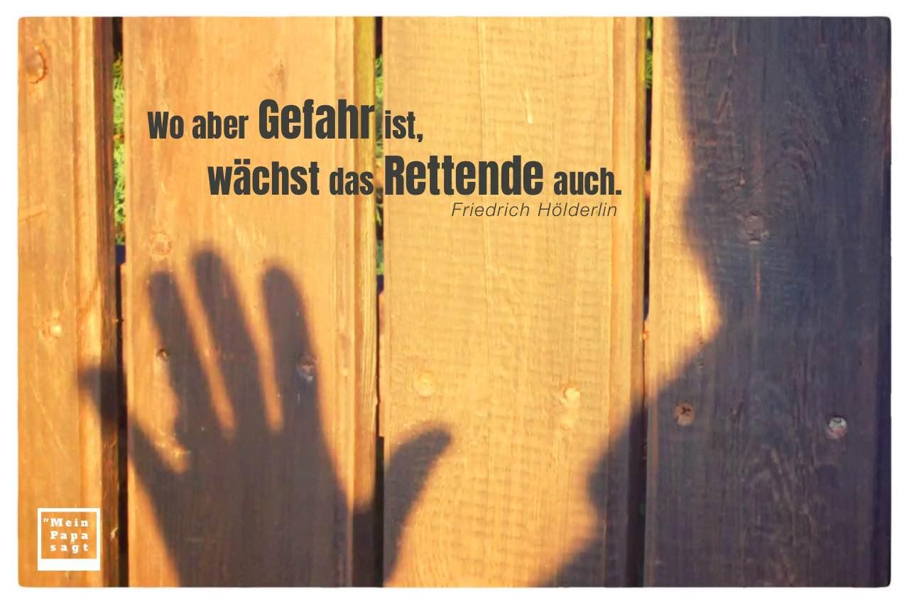 Schattenmensch mit Hölderlin Zitate Bilder: Wo aber Gefahr ist, wächst das Rettende auch. Friedrich Hölderlin