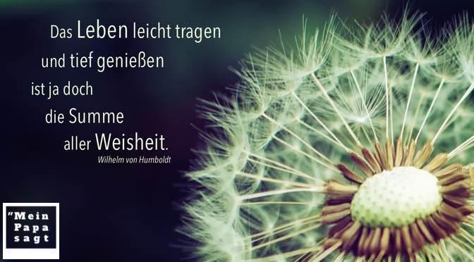 Das Leben leicht tragen und tief genießen ist ja doch die Summe aller Weisheit – Wilhelm von Humboldt