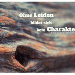 Holzrinde mit Feuchtersleben Zitate Bilder: Ohne Leiden bildet sich kein Charakter. Ernst von Feuchtersleben
