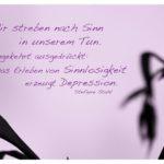 Zweige mit Stefanie Stahl Zitate Bilder: Wir streben nach Sinn in unserem Tun. Umgekehrt ausgedrückt: Das Erleben von Sinnlosigkeit erzeugt Depression. Stefanie Stahl
