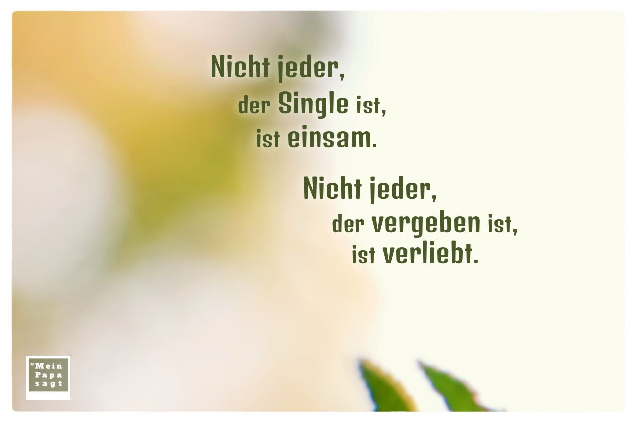 Natur unscharf mit Sprüche Bilder: Nicht jeder, der Single ist, ist einsam. Nicht jeder, der vergeben ist, ist verliebt.