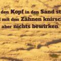 Wer den Kopf in den Sand steckt, wird mit den Zähnen knirschen aber nichts bewirken