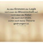 Unscharfe Szene mit Jung Zitate Bilder: An den Grenzen der Logik hört zwar die Wissenschaft auf, nicht aber die Natur, die auch dort blüht, wohin noch keine Theorie gedrungen ist. Carl Gustav Jung