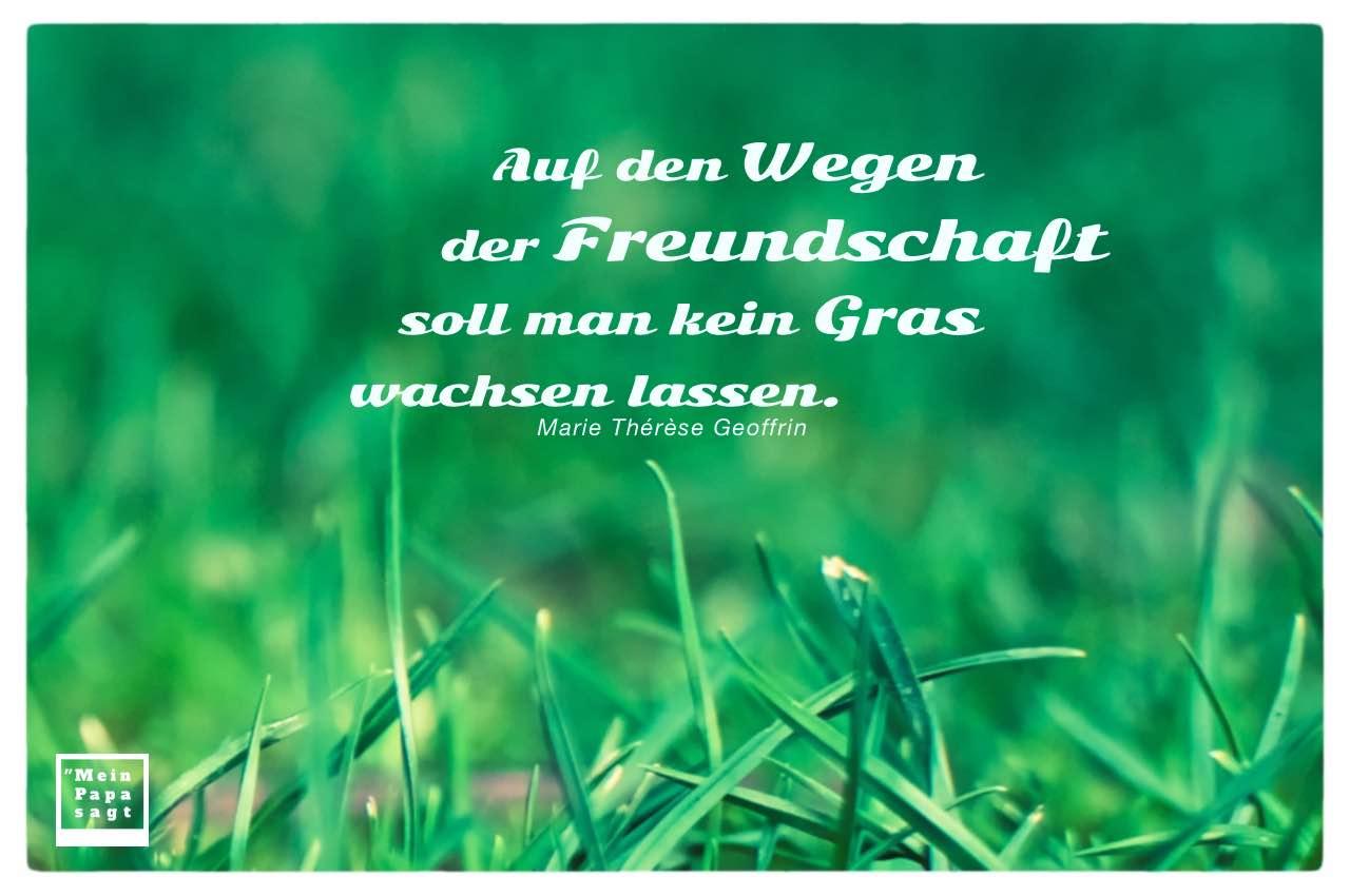 Gras mit Geoffrin Zitate Bilder: Auf den Wegen der Freundschaft soll man kein Gras wachsen lassen. Marie Thérèse Geoffrin