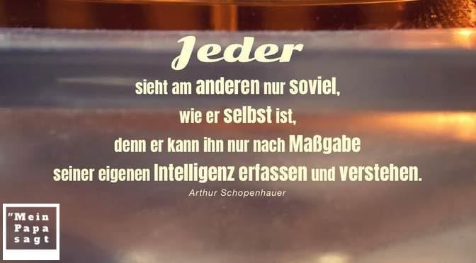 Jeder sieht am anderen nur soviel, wie er selbst ist, denn er kann ihn nur nach Maßgabe seiner eigenen Intelligenz erfassen und verstehen – Schopenhauer