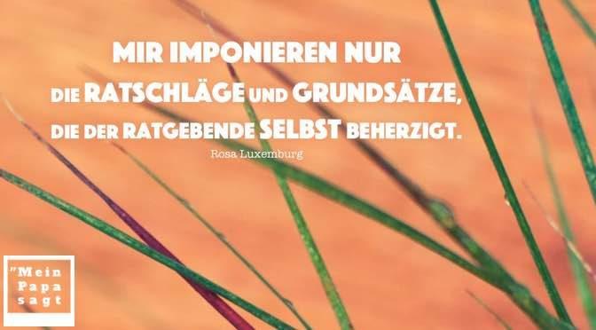 Mir imponieren nur die Ratschläge und Grundsätze, die der Ratgebende selbst beherzigt – Rosa Luxemburg