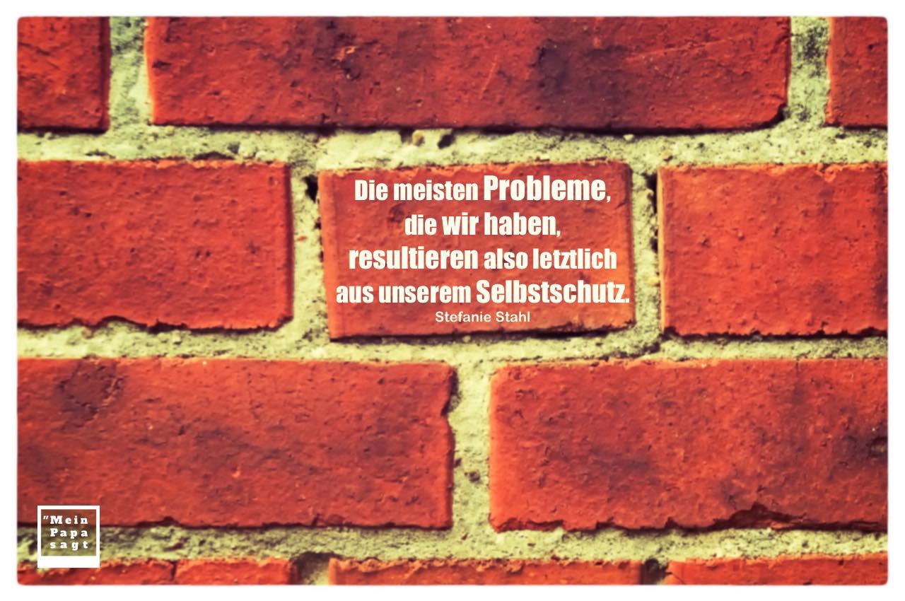 alte Steinmauer mit Stefanie Stahl Zitate mit Bild: Die meisten Probleme, die wir haben, resultieren also letztlich aus unserem Selbstschutz. Stefanie Stahl