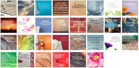 Übersichtsbild. Bilder Galerie mit Lebensweisheiten, Weisheiten, Zitate Bilder, Sprichwörter, Affirmationen und Sprüche Bilder des Tages April 2020