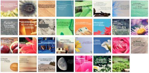Übersichtsbild. Bilder Galerie mit Lebensweisheiten, Weisheiten, Zitate Bilder, Sprichwörter, Affirmationen und Sprüche Bilder des Tages Mai 2020