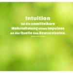 Wald unscharf mit van Osten Zitate mit Bild: Intuition ist die unmittelbare Wahrnehmung eines Impulses an der Quelle des Bewusstseins. René van Osten