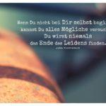Rostiges Schutzblech Fahrrad mit Krishnamurti Zitate mit Bild: Wenn Du nicht bei Dir selbst beginnst, kannst Du alles Mögliche versuchen, Du wirst niemals das Ende des Leidens finden. Jiddu Krishnamurti