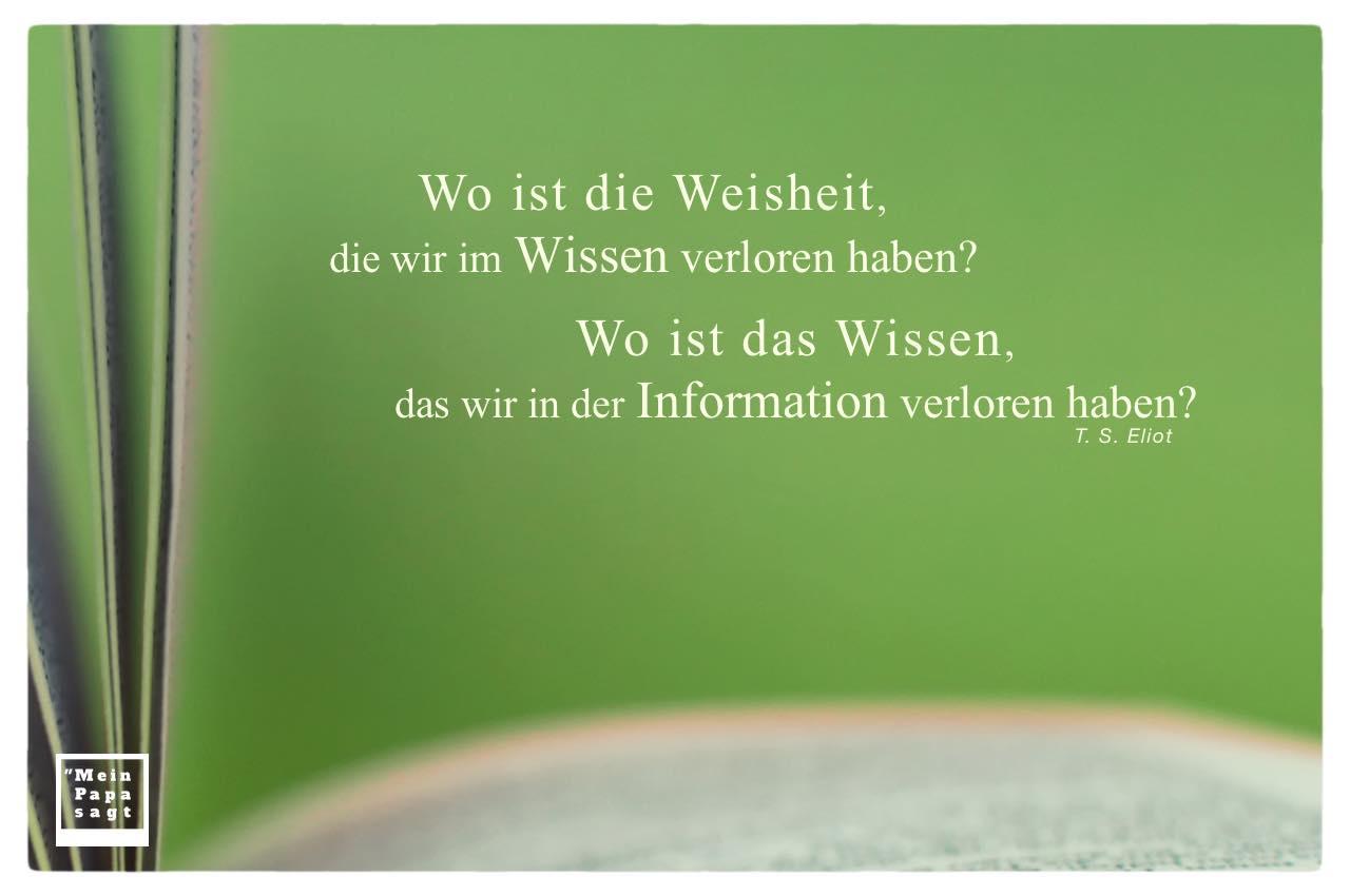 Buch mit Eliot Zitate mit Bild: Wo ist die Weisheit, die wir im Wissen verloren haben? Wo ist das Wissen, das wir in der Information verloren haben? T. S. Eliot