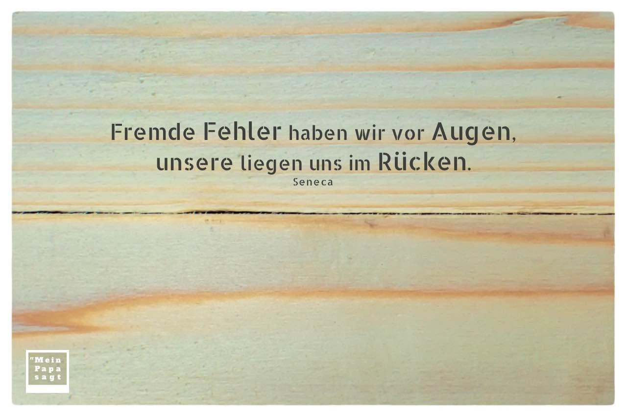 Bretter mit Seneca Zitate mit Bild: Fremde Fehler haben wir vor Augen, unsere liegen uns im Rücken. Seneca
