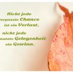 Herbstblatt mit Sprüche Bild: Nicht jede verpasste Chance ist ein Verlust, nicht jede genutzte Gelegenheit ein Gewinn.