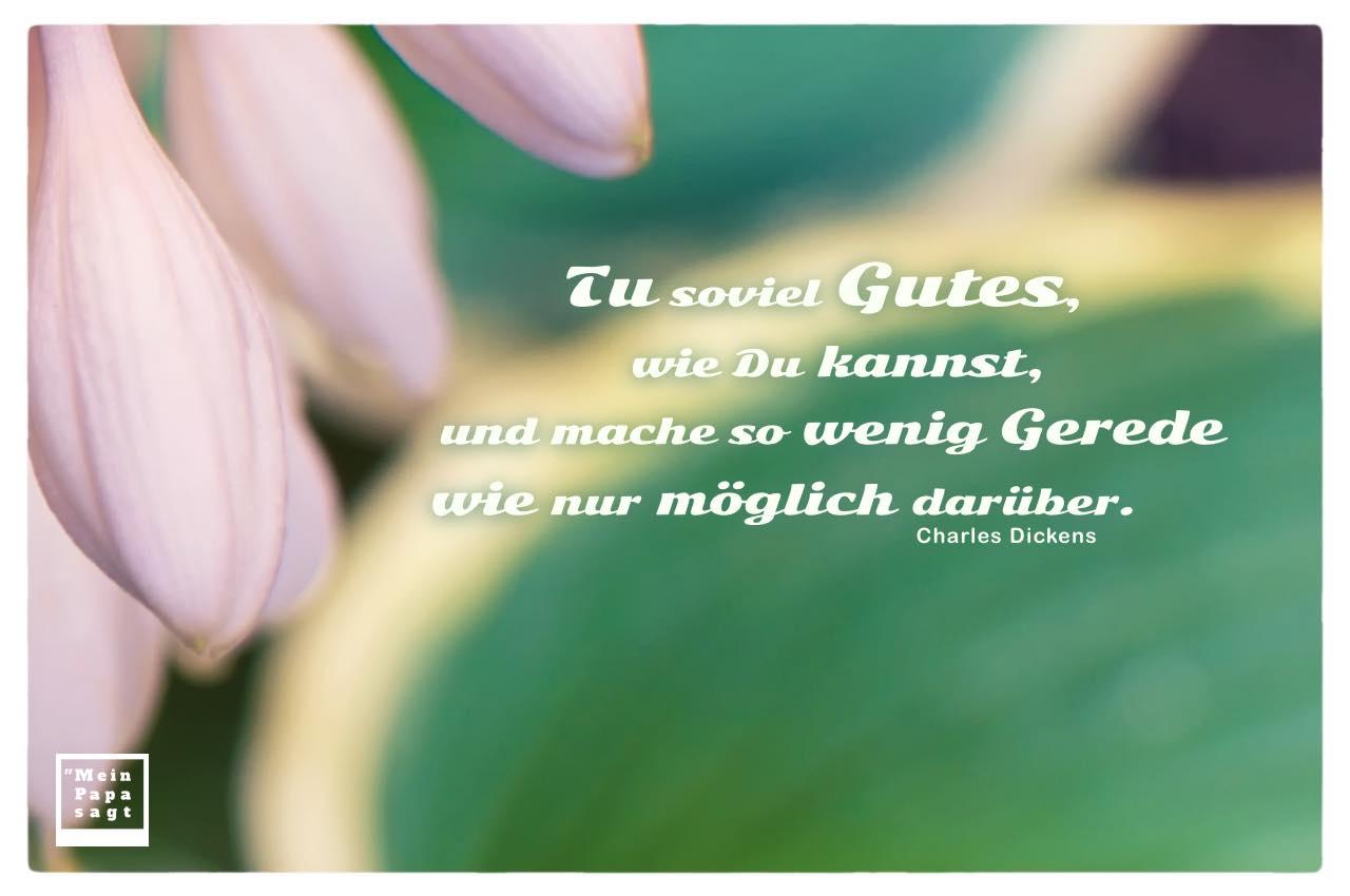 Blüten und Blätter mit Dickens Zitate mit Bild: Tu soviel Gutes, wie Du kannst, und mache so wenig Gerede wie nur möglich darüber. Charles Dickens