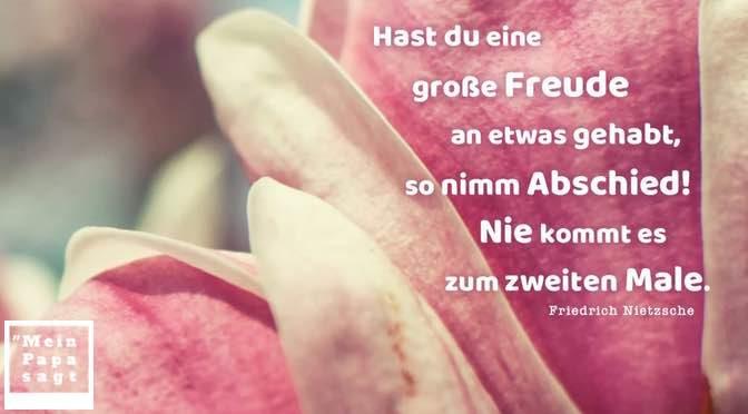 Hast du eine große Freude an etwas gehabt, so nimm Abschied! Nie kommt es zum zweiten Male – Friedrich Nietzsche