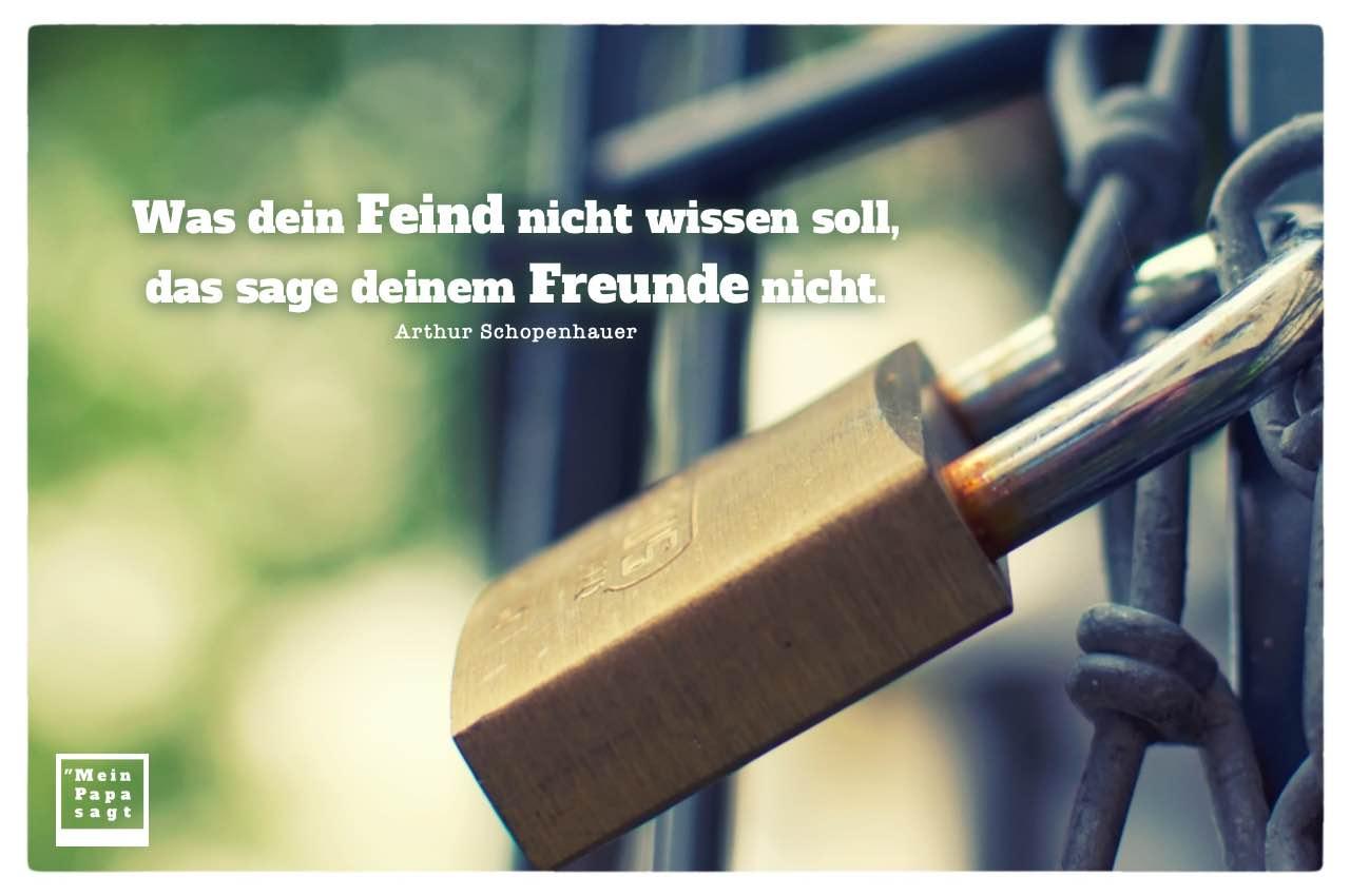 Vorhängeschloss mit Schopenhauer Zitate mit Bild: Was dein Feind nicht wissen soll, das sage deinem Freunde nicht. Arthur Schopenhauer
