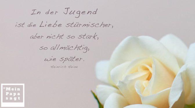 In der Jugend ist die Liebe stürmischer, aber nicht so stark, so allmächtig, wie später – Heinrich Heine