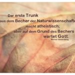 Herbstlaub mit Heisenberg Zitate Bilder: Der erste Trunk aus dem Becher der Naturwissenschaften macht atheistisch; aber auf dem Grund des Bechers wartet Gott. Werner Heisenberg