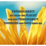 Sonnenblume mit Fock Zitate Bilder: Fröhlichkeit ist nicht die Flucht vor der Traurigkeit, sondern der Sieg über sie. Gorch Fock