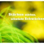 Grüne Gräser mit Sprüche Bilder: Stärken stärken, schwächt Schwächen.
