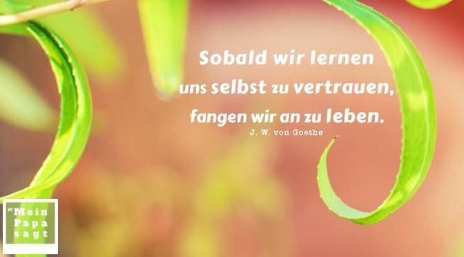 Sobald wir lernen uns selbst zu vertrauen, fangen wir an zu leben – J. W. von Goethe