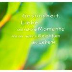 Pflanzen unscharf mit Sprüche Bilder: Gesundheit, Liebe und schöne Momente sind der wahre Reichtum des Lebens.