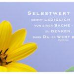 Blüte mit Dyer Zitate Bilder: Selbstwert kommt lediglich von einer Sache - zu denken, dass Du es wert bist. Wayne Dyer