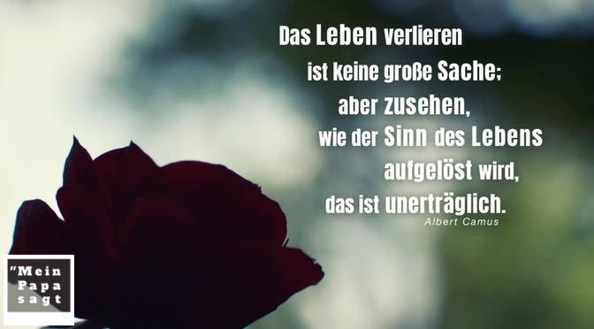 Das Leben verlieren ist keine große Sache; aber zusehen, wie der Sinn des Lebens aufgelöst wird, das ist unerträglich – Albert Camus