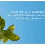 Blätter vor blauem Himmel mit Kafka Zitate Bilder: Prüfe dich an der Menschheit. Den Zweifelnden macht sie zweifeln, den Glaubenden glauben. Franz Kafka