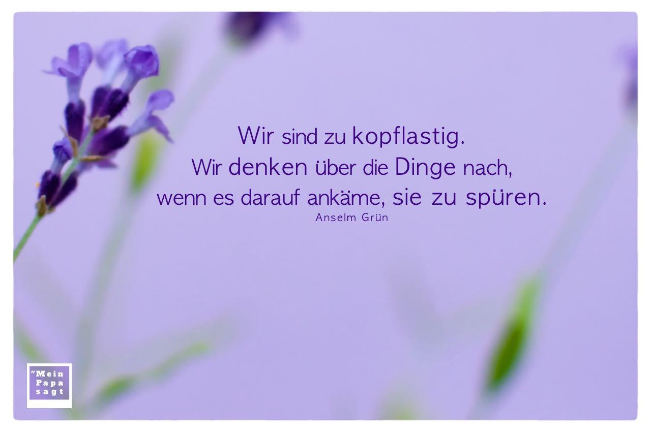 Lavendel mit Grün Zitate Bilder: Wir sind zu kopflastig. Wir denken über die Dinge nach, wenn es darauf ankäme, sie zu spüren. Anselm Grün