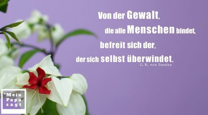 Von der Gewalt, die alle Menschen bindet, befreit sich der, der sich selbst überwindet – J. W. von Goethe