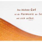 getrocknetes Palmenblatt mit Seneca Zitate Bilder: Das höchste Gut ist die Harmonie der Seele mit sich selbst. Seneca