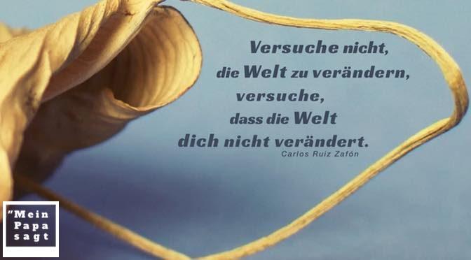 Versuche nicht, die Welt zu verändern, versuche, dass die Welt dich nicht verändert – Carlos Ruiz Zafón